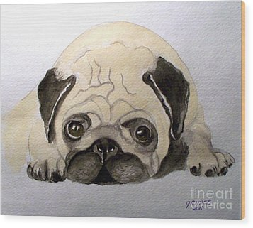 Pug Wood Print by Carol Grimes