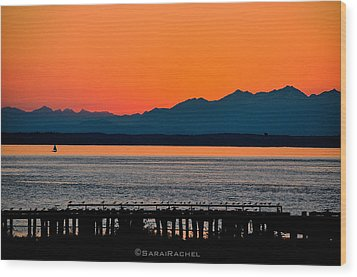 Puget Sound Sunset Wood Print by Sarai Rachel