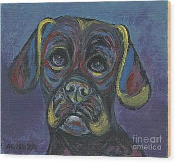 Puggle In Abstract Wood Print