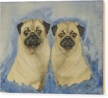 Wood Print featuring the painting Pugs by Edwin Alverio