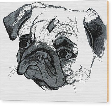 Pugsly Wood Print by Patricia Barmatz