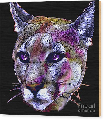 Wood Print featuring the painting Puma Portrait by Elinor Mavor