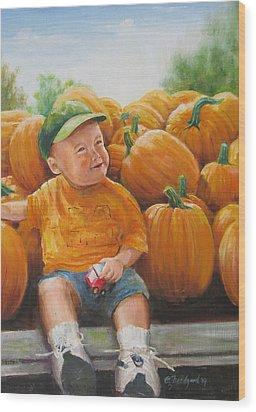 Pumkin Boy Wood Print by Oz Freedgood