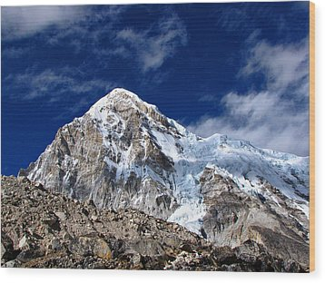 Pumori-everest Base Camp Trek-nepal Wood Print by Copyright Michael Mellinger