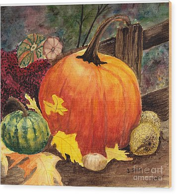 Pumpkin And Gourds Wood Print by John Small