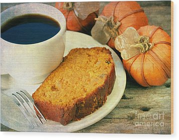 Pumpkin Bread And Coffee Wood Print by Darren Fisher