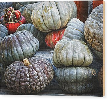 Pumpkin Pile II Wood Print by Joan Carroll