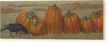 Pumpkin Row Wood Print
