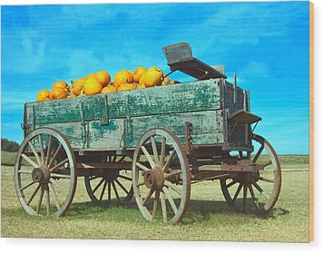 Wood Print featuring the photograph Pumpkin Wagon by Susi Stroud