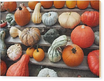 Wood Print featuring the photograph Pumpkins And Gourds by Brooke T Ryan