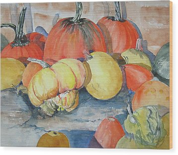 Pumpkins And Gourds Wood Print