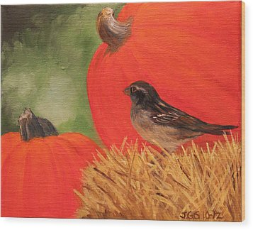 Pumpkins And Sparrow Wood Print