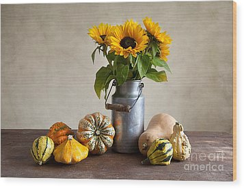 Pumpkins And Sunflowers Wood Print by Nailia Schwarz