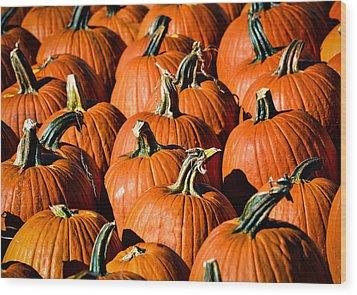 Pumpkins Galore Wood Print by Julie Palencia