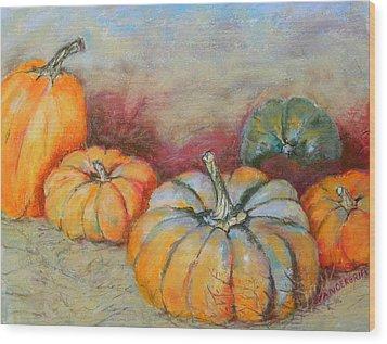 Pumpkins Wood Print by Hilda Vandergriff