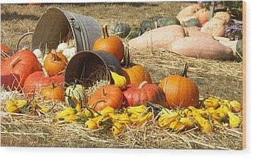 Pumpkins Wood Print by Laurie Kidd