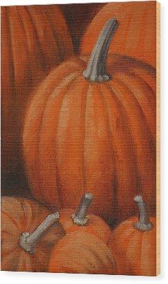 Pumpkins Wood Print by Linda Eades Blackburn