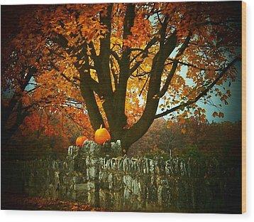 Pumpkins On The Wall Wood Print by Joyce Kimble Smith