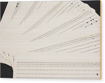 Punch Cards Wood Print by Photo Researchers, Inc.