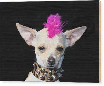 Punk Rock Chihuahua Wood Print by Ritmo Boxer Designs