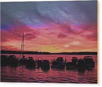 Punta Gorda Sunset Wood Print by Sandy Poore