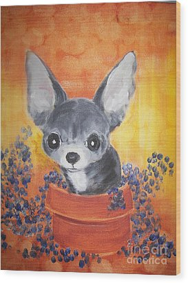 Pup In A Pot 11 Wood Print