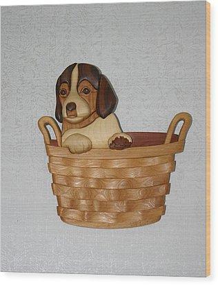 Pup In Basket Wood Print by Bill Fugerer
