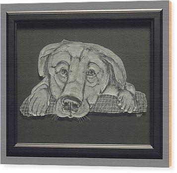 Puppy Wood Print by Akoko Okeyo
