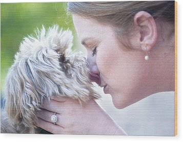 Puppy Love Wood Print by Bonnie Barry