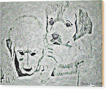 Puppy Love Wood Print by Chandra McMullen