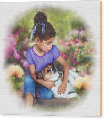 Puppy Love Wood Print by Dawn Serkin