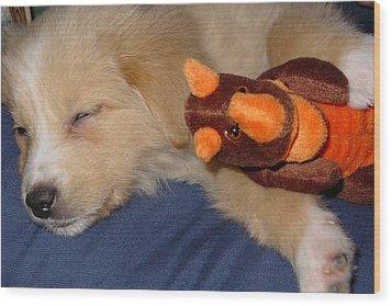 Puppy Love Wood Print by Wide Awake Arts