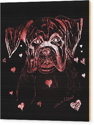 Puppy Love Wood Print by Maria Urso