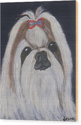 Puppy - Nib Painting Wood Print by Rejeena Niaz