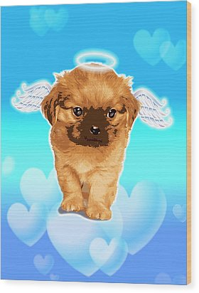 Puppy With Wings And Halo Wood Print by New Vision Technologies Inc