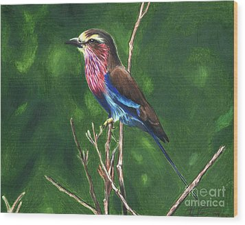 Purple And Blue Bird Wood Print