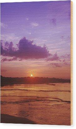 Purple And Orange Sunset Wood Print by Vince Cavataio - Printscapes