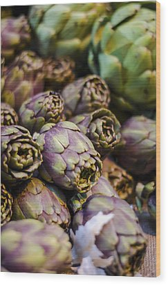Purple Artichokes At The Market Wood Print by Heather Applegate