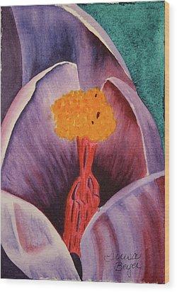 Wood Print featuring the painting Purple Crocus by Teresa Beyer