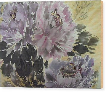 Wood Print featuring the painting Purple Dark Peony by Dongling Sun