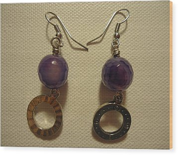 Purple Doodle Drop Earrings Wood Print by Jenna Green