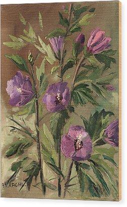 Purple Flowers 2 Wood Print by Rachel Hershkovitz