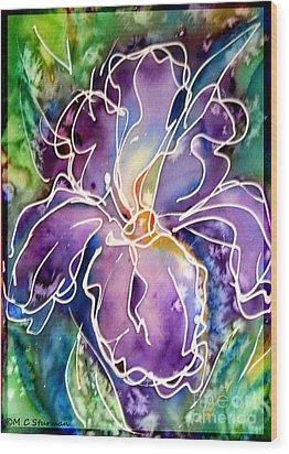 Purple Iris Wood Print by M C Sturman