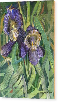 Purple Irises Wood Print by Mindy Newman