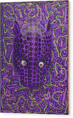 Purple Jaguar Head Wood Print