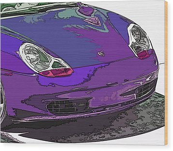 Purple Porsche Nose 2 Wood Print by Samuel Sheats