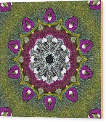 Purple Snakeskin Flower Wood Print by Alec Drake