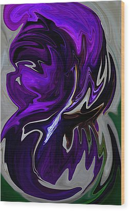 Purple Swirl Wood Print by Karen Harrison