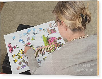 Puzzle Therapy Wood Print by Photo Researchers, Inc.