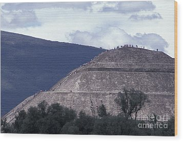 Wood Print featuring the photograph Pyramid Climbers Teotihuacan Mexico by John  Mitchell